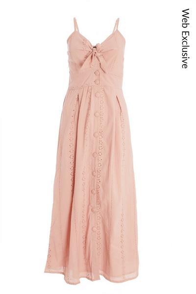 Pink Broderie Tie Midi Dress